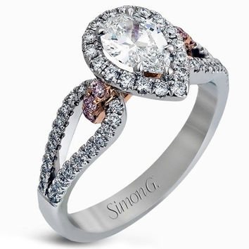 Simon G. 18K White Gold Split Shank Pear Shape Halo Diamond Engagement Ring