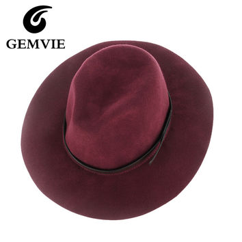 Women Solid Vintage Wool Fedoras Hats Jazz Caps Red Black Gray Purplish Red Women Cashmere Hat For Autumn and Winter