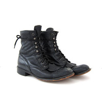 Vintage Black leather Boots. Lace up Ropers. Western Boots. Pebbled Leather Boots. Durango Boots. Women's 10.