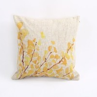 "Cotton Linen Decorative Throw Pillow Case Cushion Cover (Yellow Flower) 18 ""X18"""