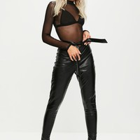 Missguided - Black Tie Front Faux Leather Skinny Pants