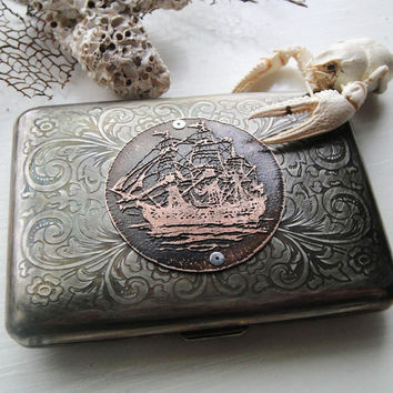 Nautical Clipper Ship Etched Wallet / Cigarette by janeeroberti