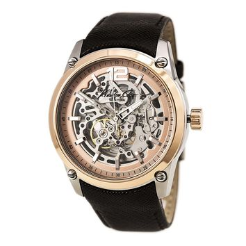 Kenneth Cole KC8090 Men's New York Automatic Skeleton Dial Brown Leather Strap Watch