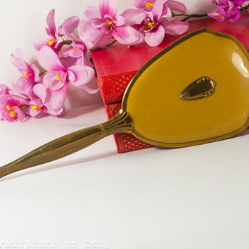 Art Deco Hand Mirror:  French Vanity Mirror, Metal Golden Frame Large Hand Mirror / Makeup Mirror, Vintage Gift Idea for Her