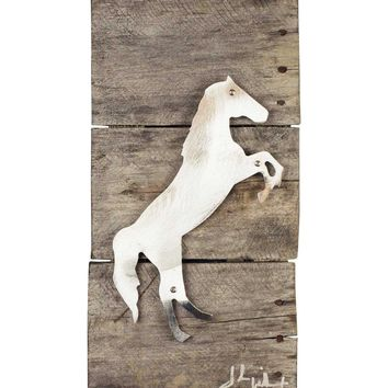 Raring Stallion Horse Wood & Metal Art Wall Decor