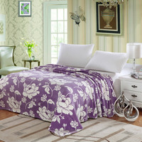 Cozy Home Floral Microplush Blanket - Purple (King)