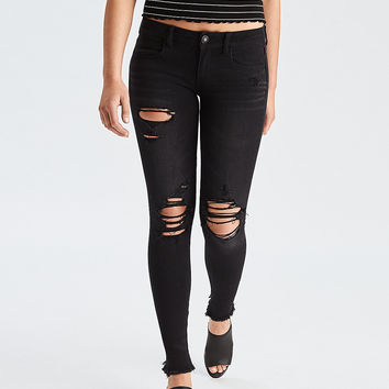 AEO Denim X4 Super Low Jegging, Raven Black