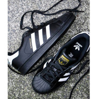 "Summer11""Adidas"" Fashion Shell-toe Flats Sneakers Sport Shoes Black white line golden"