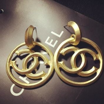 Chanel Metal Exaggerated Baroque Style Big Logo Earrings Long Earrings