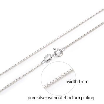 7 Sizes Available Pure 925 Sterling Silver Box Chain Necklace Women Men Kids Girls 35/40/45/50/60/70/80cm Jewelry kolye collares