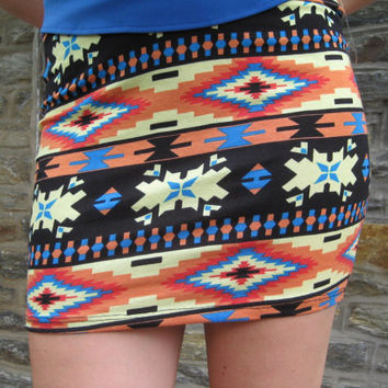 Aztec Mini Skirt -- Multi Colored