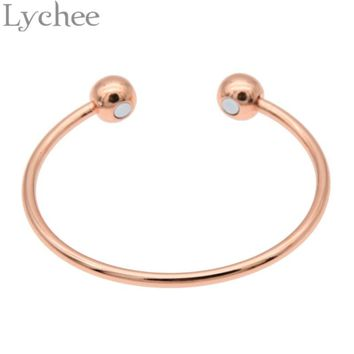 Lychee Vintage Gold Silver Color Pure Copper Magnetic Health Energy Bangle Bracelet Healing Jewelry for Men Women