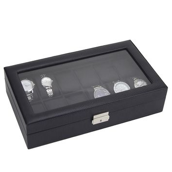 12 Watch Display Leather Case Top Glass Jewelry Organizer Storage Boxes Men