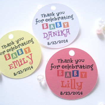 Favor tags for baby shower, girl baby shower favor tags, round party favor tags, gift tags - 30 tags
