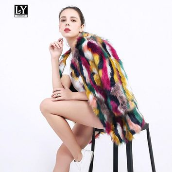 Ly Varey Lin Women Winter Warm Elegant Fur Coats Colorful Faux Fur Jacket Multicolor Long Sleeve Female Plus Size 3xl Fur Coats