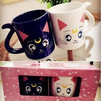 Sailor Moon Crystal 20th Anniversary Luna & Artemis lovers Mug Cup gift 2 pcs