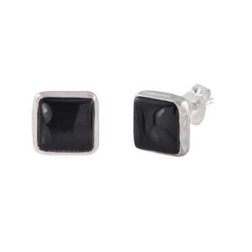 Sterling Silver Gemstone Stud Earrings Black Onyx 9mm Square