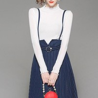 Knit Top and Stripe Skirt Set