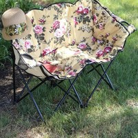 CHINTZ TETE A TETE LAWN CHAIR - Foldable Canvas Loveseat