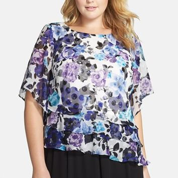 Plus Size Women's Alex Evenings Print Tiered Chiffon Blouse,