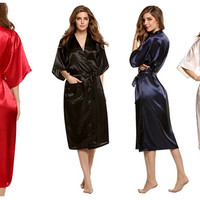 Fashion Women's Solid Silk Kimono Robe for Bridesmaids, Wedding Party Night Gown Pajamas,5 colors available Free Shipping