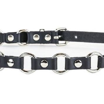 """3/4"""" Silver O Ring Link Leather Fashion Leather Belt"""