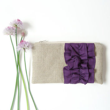 Eggplant Purple Burlap Ruffle Zipper Clutch - Bridesmaid Gift - Plum Purple Burlap Wedding Bag