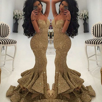 Vestidos De Festa 2017 Cheap Price Luxurious Gold Sweetheart Sequined Mermaid Prom Dresses Spaghetti Straps Draped Ruffles