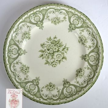 Green Vintage English Transferware Plate Shabby Victorian Roses and Scrolls