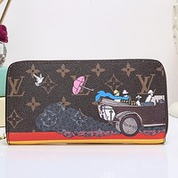 Louis Vuitton LV Women Fashion Leather Zipper Purse Wallet