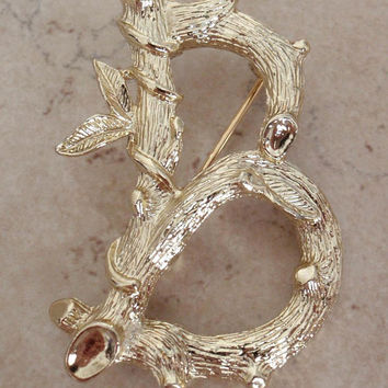 Letter B Brooch Twig Branch Like Monogram Initial Gold Tone Sarah Coventry Vintage 120513UP