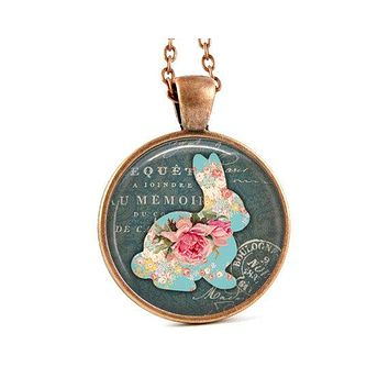 Bunny Necklace - Floral Bunny - Pink and Blue - Rabbit Necklace - Easter Necklace - Rabbit Pendant - Bunny Pendant - Rabbit Jewelry