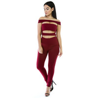 Red Off-Shoulder Cut-Out Zip-Back Jumpsuit