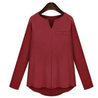 Autumn Women Sexy Deep V-neck Knitting Shirt Top  Blouse 3 Solid Colors ( Black/White/Burgundy) = 1667741508