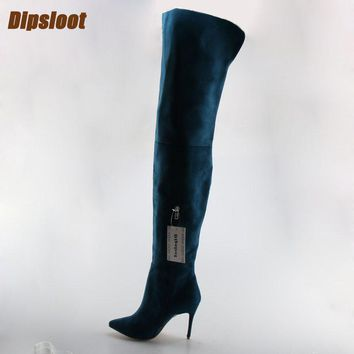 Dark Blue Suede Leather Thigh Boots Open Toe High Heel Zipper Side Boots