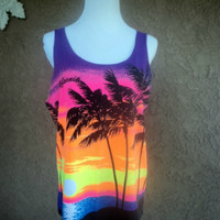 Vintage 80s Neon Tank Top California Sunset by caligodessvintage