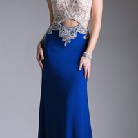 Royal Blue Halter Beaded Sexy Prom Gown with Cut-Outs