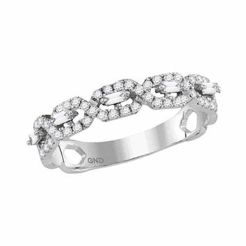 10kt White Gold Women's Round Diamond Twist Stackable Band Ring 1-3 Cttw - FREE Shipping (US/CAN)