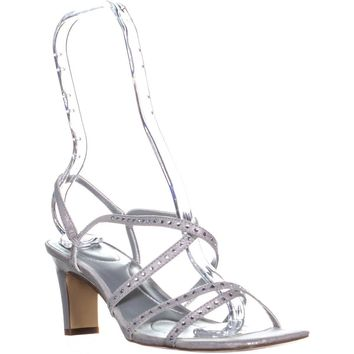 Bandolino Ota Heeled Stappy Sandals, Silver, 8 US
