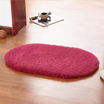 Luxury 400x600mm Oval Polyster Bath Rug Anti-Bacterial Non Slip Bathroom Mat Doormat Floor Rugs 7 Color Available