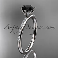 platinum diamond unique engagement ring, wedding ring with a Black Diamond center stone ADER145