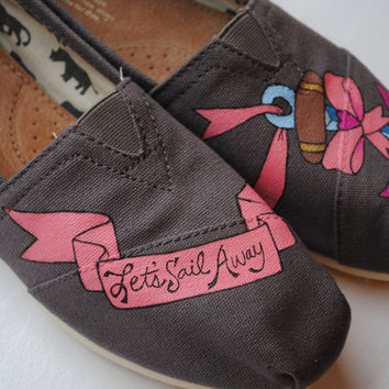 Custom Hand Painted TOMS Anchor and Bow by PaperHeartsApparel