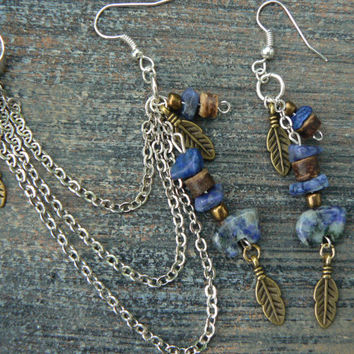 Sodalite gemstone zuni bear chained ear cuff blue sodalite gemstone cross cuff in boho gypsy hippie hipster native american and tribal style