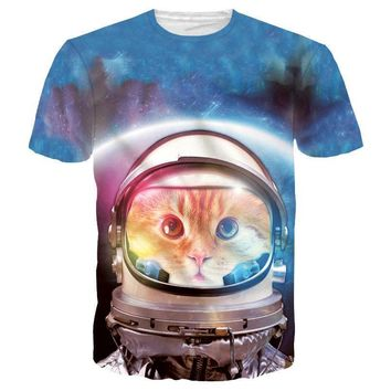 Space Cat Astronaut Kitten Galaxy Universe Print Graphic Tee