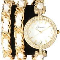 Geneva White w/ Gold Twisted Rope Chain Triple Wrap Watch Toggle Clasp w/ Rhinestones