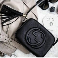 Gucci Fashion Ladies Small Bag Shaopping Pure Color Tassel Leather Shoulder Bag Crossbody Satchel Black I-MYJSY-BB