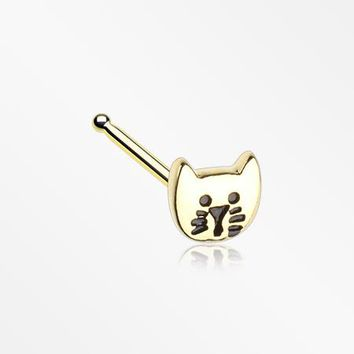 Golden Adorable Kitty Cat Nose Stud Ring