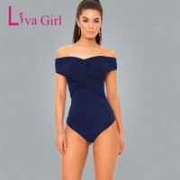 Liva Girl Women Body Off Shoulder Sexy Bodysuits Overalls Women Ruched Elegant Skinny Bodysuit Short Bodycon Jumpsuit Romper
