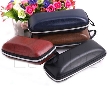 Zipper Leather Glasses Case Sunglasses Eye Glasses Case Eyewear Protector Box A21088