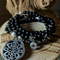 108 Mala Beads | Onyx & White Jade Mala | Unisex Mala Necklace | Meditation Prayer Beads, Yoga Mala, Rosary, Mala for Men | Mayan Rose